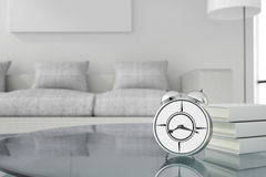 3D rendering : illustration of retro alarm clock put on wooden table.with blurred work place in background.morning work.wake up Royalty Free Stock Photos