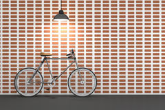 3D rendering : illustration of retro bicycle and vintage lamp hanging on the roof against of the red brick wall.background. Stock Images