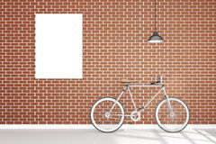 3D rendering : illustration of retro vintage bicycle and vintage metal lamp hanging on the roof against of the red brick wall. Background.hipster.white poster Stock Photos