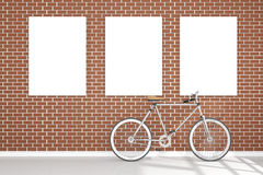 3D rendering : illustration of retro vintage bicycle and vintage metal lamp hanging on the roof against of the red brick wall. Background.hipster.three white Royalty Free Stock Image