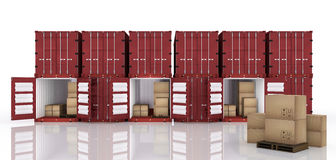 3D rendering : illustration of row of container with opened container and cardboard boxes inside the container. Royalty Free Stock Photography