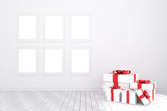 3D rendering : illustration of six white picture frame hanging in empty room.white wall and wooden floor. Stock Photos