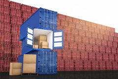 3D rendering : illustration of stacked blue container with cardboard boxes inside the container against red container wall. In background.business export import Stock Photo