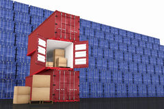 3D rendering : illustration of stacked red container with cardboard boxes inside the container against blue container wall Stock Photo