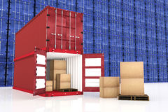 3D rendering : illustration of stacked red container with cardboard boxes inside the container with blue container wall Royalty Free Stock Photos