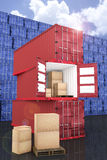 3D rendering : illustration of stacked red container with cardboard boxes inside the container with blue container wall. And blue sky in background.business Stock Photo