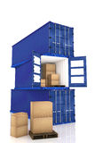 3D rendering : illustration of stacked of three blue container with cardboard boxes inside the container.business export import Royalty Free Stock Image
