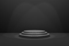 3D Rendering : illustration of stage for awards ceremony. Black round podium. First place.3 steps empty podium on black room. Background and lighting drop from Royalty Free Stock Photography