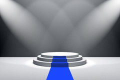 3D Rendering : illustration of stage with blue carpet for awards ceremony. White round podium.First place.3 steps empty podium Stock Photography