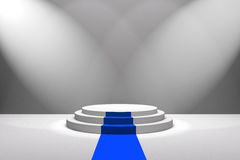 3D Rendering : illustration of stage with blue carpet for awards ceremony. White round podium.First place.3 steps empty podium Stock Photos