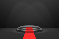 3D Rendering : illustration of stage with red carpet for awards ceremony. Black round podium. First place.3 steps empty podium Royalty Free Stock Photography