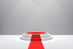 3D Rendering : illustration of stage with red carpet for awards ceremony. White round podium. First place.3 steps empty podium Stock Photography