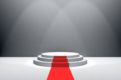 3D Rendering : illustration of stage with red carpet for awards ceremony. White round podium. First place.3 steps empty podium Royalty Free Stock Photos