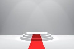 3D Rendering : illustration of stage with red carpet for awards ceremony. White round podium. First place.3 steps empty podium Stock Images