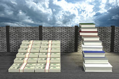 3D Rendering : illustration of success by knowledge concept.ladder to success a business or life by knowledge.Abstract cloudy sky Stock Image