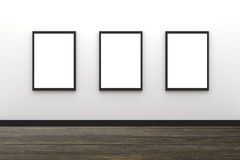 3D Rendering : illustration of three blank black photo frame hanging on white wall interior with wooden floor,clipping path inside Stock Images