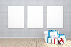 3D rendering : illustration of three poster hanging on the wall in empty room.brick wall and wood floor.for your text and picture Stock Images