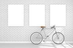 3D rendering : illustration of three white poster hanging on the wall in empty room.space for your text and picture. Stock Photo