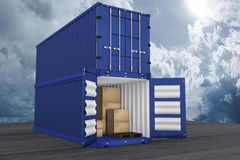 3D rendering : illustration of two container with one opened container and cardboard boxes inside the container.business export Stock Photos