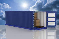 3D rendering : illustration of two container with one opened container and cardboard boxes inside the container.business export im Stock Image