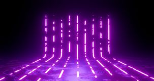 3d rendering illustration. Vertical lines Purple and red neon lights on a black background. Neon frame for your design stock photo