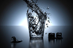 3d rendering - illustration of water pouring in glass with high speed shutter for water splash out from a glass.  Stock Photography
