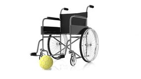 3D rendering illustration of waterpolo ball with wheelchair Royalty Free Stock Photos