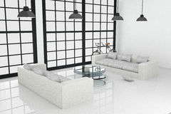 3D rendering : illustration of White interior design of large living room. With white modern style furniture.shiny white floor.vintage lamp hanging on a roof Stock Photography