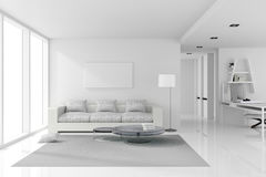3D rendering : illustration of White interior design of living room with white modern style furniture.shiny white floor. Stock Image