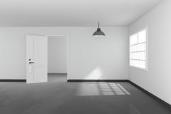 3D rendering : illustration of White interior empty living room design with a vintage lamp hanging.shiny gray floor.sun light Stock Image