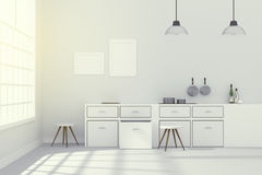 3D rendering : illustration of White interior modern kitchen room design with two vintage lamp hanging.shiny gray floor.sun light Royalty Free Stock Photography