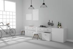 3D rendering : illustration of White interior modern kitchen room design with two vintage lamp hanging.shiny gray floor.sun light Stock Photo