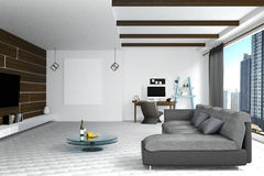 3D Rendering : illustration of white Living room interior design with dark sofa.blank picture frames.shelves and white walls Stock Photos