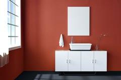 3d rendering : illustration of white mock up frame. hipster background. mock up white poster or picture frame. toilet interior Stock Photos