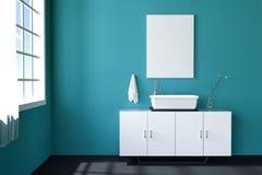 3d rendering : illustration of white mock up frame. hipster background. mock up white poster or picture frame. toilet interior. Royalty Free Stock Images