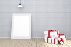 3D rendering : illustration of white picture frame in empty room.brick wall and wooden floor.space for your text and picture. Stock Photos