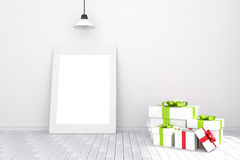 3D rendering : illustration of white picture frame in empty room.white wall and wooden floor.space for your text and picture. Stock Photos