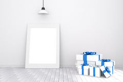 3D rendering : illustration of white picture frame in empty room.white wall and wooden floor.space for your text and picture. Stock Images