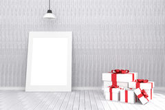 3D rendering : illustration of white picture frame in empty room.wooden wall and floor.space for your text and picture. Royalty Free Stock Image