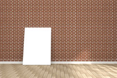 3D rendering : illustration of white poster in empty room.space for your text and picture.product display template.red brick wall Stock Image