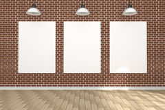3D rendering : illustration of white poster in empty room.space for your text and picture.product display template.red brick wall Royalty Free Stock Image