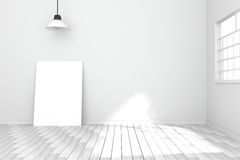 3D rendering : illustration of white poster in empty room.space for your text and picture.product display template.white wall Royalty Free Stock Photography