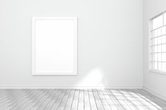 3D rendering : illustration of white poster hanging on the wall in empty room.space for your text and picture.product display Royalty Free Stock Images