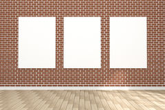 3D rendering : illustration of white poster hanging on the wall in empty room.space for your text and picture.product display Stock Photo