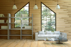 3D rendering : illustration of wooden house interior.living room part of house.white furniture in wooden room style.loft modern Stock Images
