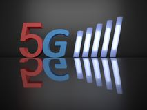 Upcoming 5g mobile technology. 3d rendering illustrative word `5G` symbol black background with reflective on the floor. Its a conceptual image of the 5th Royalty Free Stock Photography