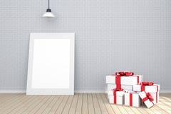 3D rendering: ilustracja biała obrazek rama w pustym pokoju Ściana z cegieł i drewniana podłoga przestrzeń dla twój obrazka i tek Zdjęcia Stock