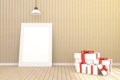 3D rendering: ilustracja biała obrazek rama w pustym pokoju Drewniana ściana i podłoga przestrzeń dla twój obrazka i teksta świat Fotografia Stock