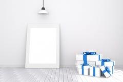 3D rendering: ilustracja biała obrazek rama w pustym pokoju podłogowy ścienny biały drewniany przestrzeń dla twój obrazka i tekst Obrazy Stock