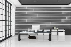 3D rendering: ilustracja biały nowożytny wewnętrzny biuro Kreatywnie projektanta desktop z peceta komputerem, klawiatura, kamera, Obrazy Stock